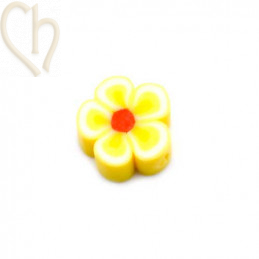 Flower in Polymere 10mm Yellow white