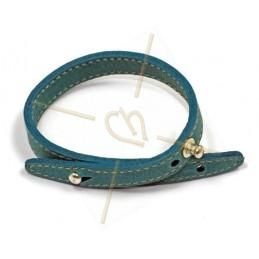 bracelet cuir 25cm. turquoise