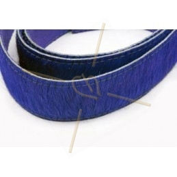 Leather with hair-on 40mm blue