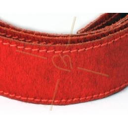Leather with hair-on 40mm red