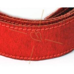Leer behaard 40mm rood