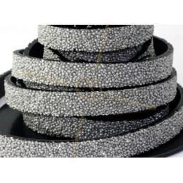 leder plat 10mm caviar silver