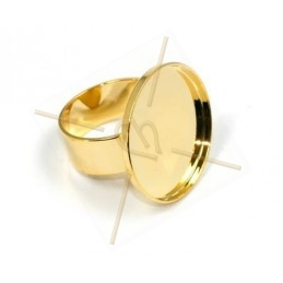 Ring plateau 24mm Goud