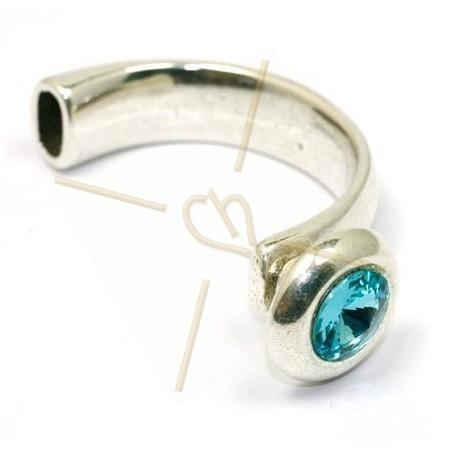 Halve armband met strass Swarovski Lt. Turquoise