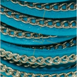 cuir 5mm turquoise avec chaine