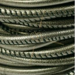 cuir rond 4mm Metallisé