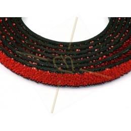 leder plat 10mm caviar rood