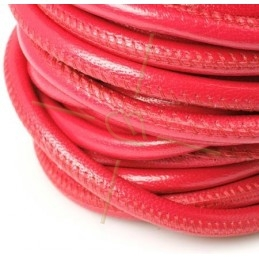 leather round 6mm Fuchsia