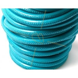 Cuir rond 4mm Turquoise clair
