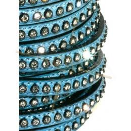 leder blauw plat 5mm met strass