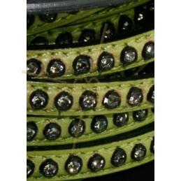 leder groen plat 5mm met strass