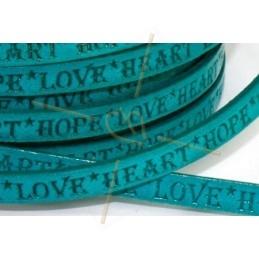 cuir plat 5mm avec inscription turquoise