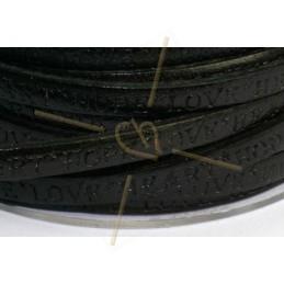 cuir plat 5mm avec inscription noir
