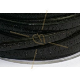 leder plat 5mm met inscriptie zwart