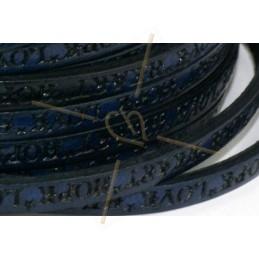 cuir plat 5mm avec inscription bleu marine
