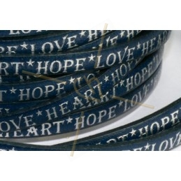 leather flat 5mm inscripted bleu silver