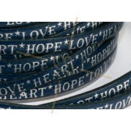 leder plat 5mm met inscriptie blauw zilver