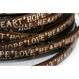 leather flat 5mm inscripted brown silver