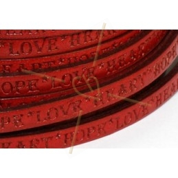 leather flat 5mm inscripted red