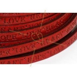 leder plat 5mm met inscriptie rood