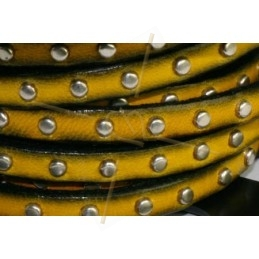 flat leather with nail yellow