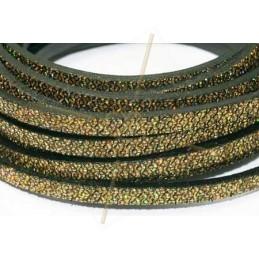 leder plat 5mm glitter effect goud