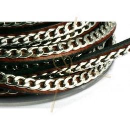 cuir 5mm maron clair avec chaine