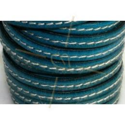 cuir 5mm avec coutures contrastantes bleu caraibe