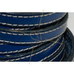 leder 10mm met contrast stiksels blauw