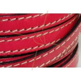leder 10mm met contrast stiksels fuchsia