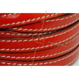 leder 10mm met contrast stiksels rood