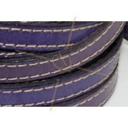 cuir 10mm avec coutures contrastantes mauve