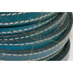 leder 10mm met contrast stiksels turquoise