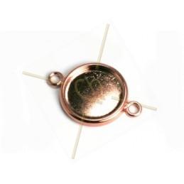tussenstuk plateau 15mm met 2 ringen rose goud