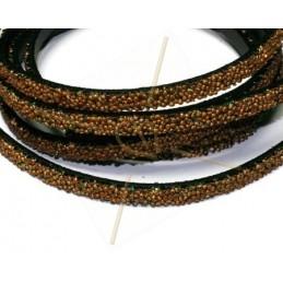 leder plat 5mm caviar brons