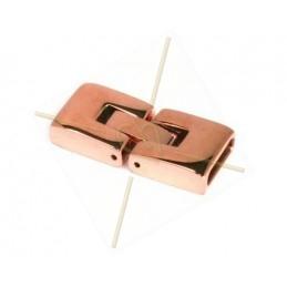 fermoir acier pour cuir rose gold 10mm  plat