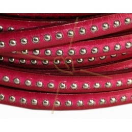 leather flat 5mm with metal ball fuchsia