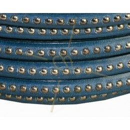leather flat 5mm with metal ball Turquoise dark