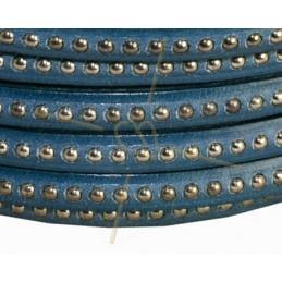 leder plat 5mm met metal bol Turquoise donker