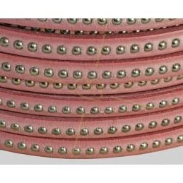 cuir plat 5mm avec metal boule rose