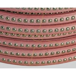 leder plat 5mm met metal bol rose
