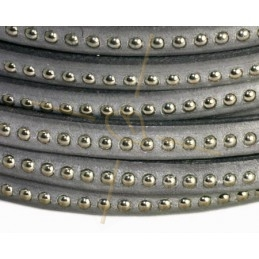 leather flat 5mm with metal ball grey