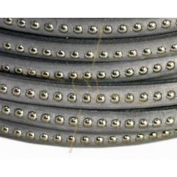 leder plat 5mm met metal bol grijs