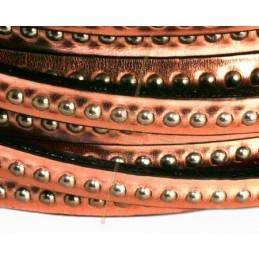 cuir plat 5mm avec metal boule or rose