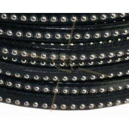 leather flat 5mm with metal ball black