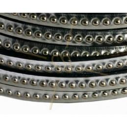 cuir plat 5mm avec metal boule argent