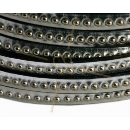 leder plat 5mm met metal bol zilver