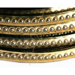 leder plat 5mm met metal bol goud