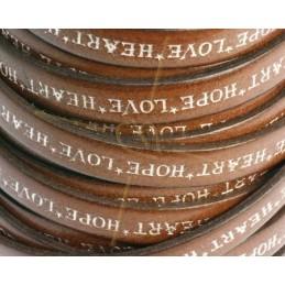 leder plat 10mm met inscriptie bruin