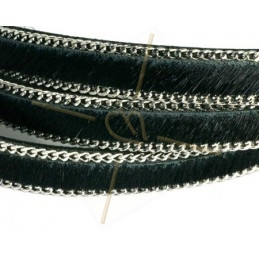 flat leather 10mm + silver chain hairy camouflage